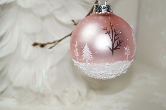 Shimmering Sheer Beauty on a Pale Pink Hand Painted Glass Christmas Ornament - White Pines, Aspen, Snow Scene, Falling snow, Great Gift