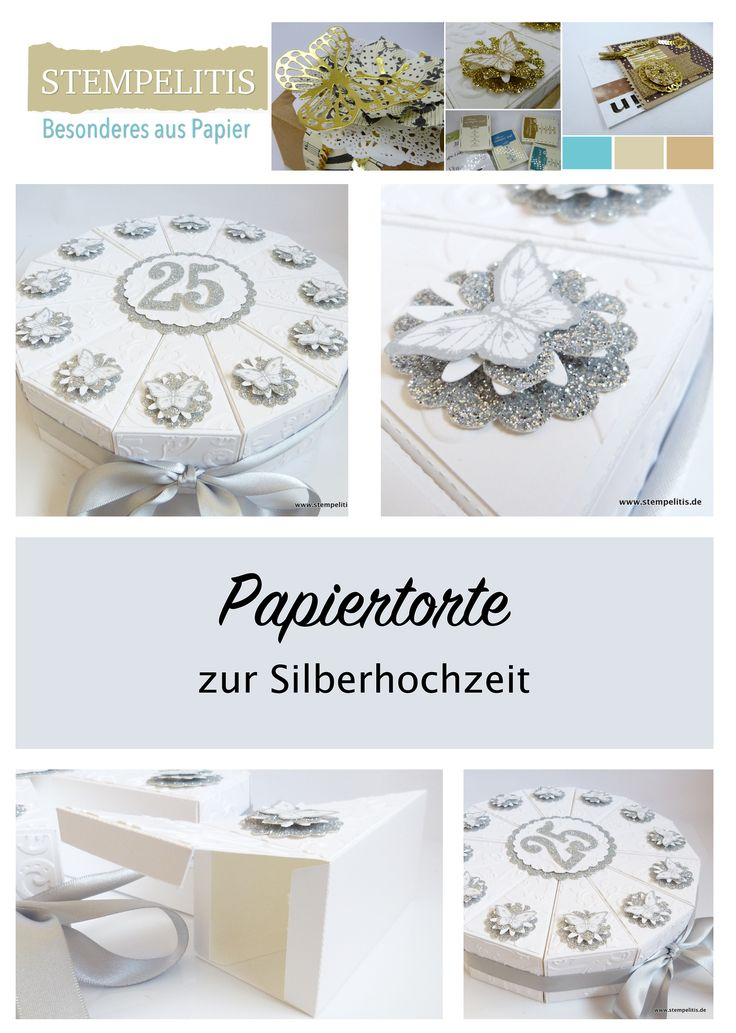Handgefertigte Torte aus Papier zum Verschenken von Geld oder Gutscheinen. Von www.stempelitis.de