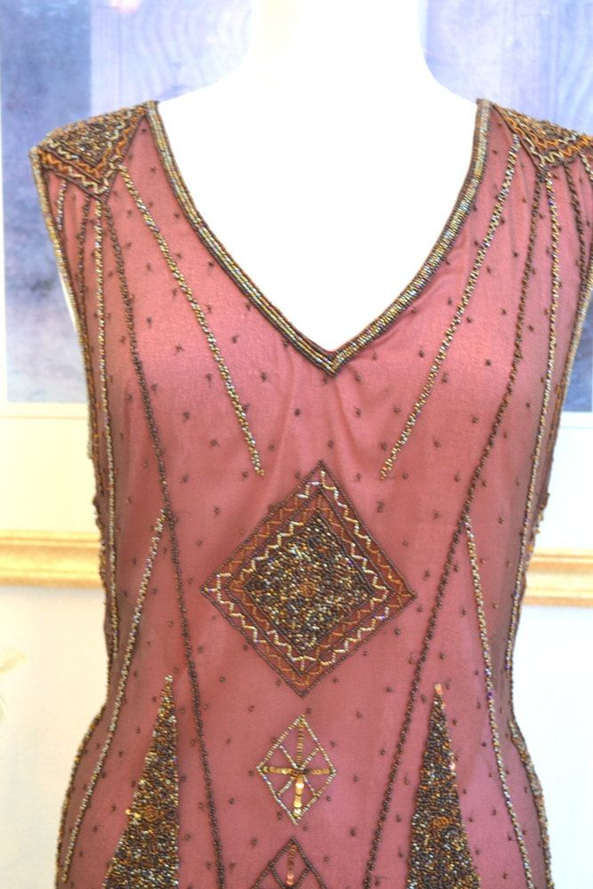 1920s stijl Great Gatsby wijn Beaded ART DECO Flapper jurk