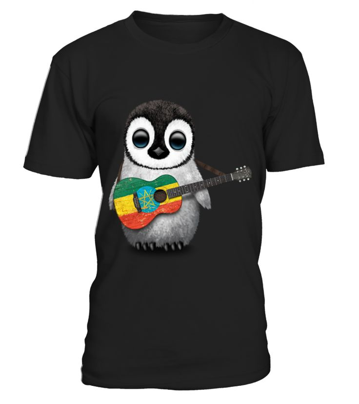 Baby Penguin Playing Ethiopian Flag Guitar  Funny Baby T-shirt, Best Baby T-shirt