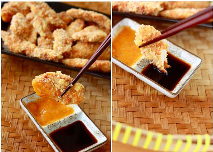 Chicken tempera with spicy peri peri sauceChicken Katsu, Katsu Food, Peri Peri, Fries Chicken Tenders, Peri Sauces, Chicken Tempera, Minis Chicken, Spicy Peri, Fried Chicken