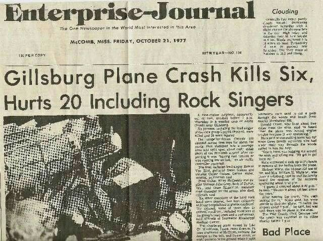 Lynyrd Skynyrd plane crash. A sad day.