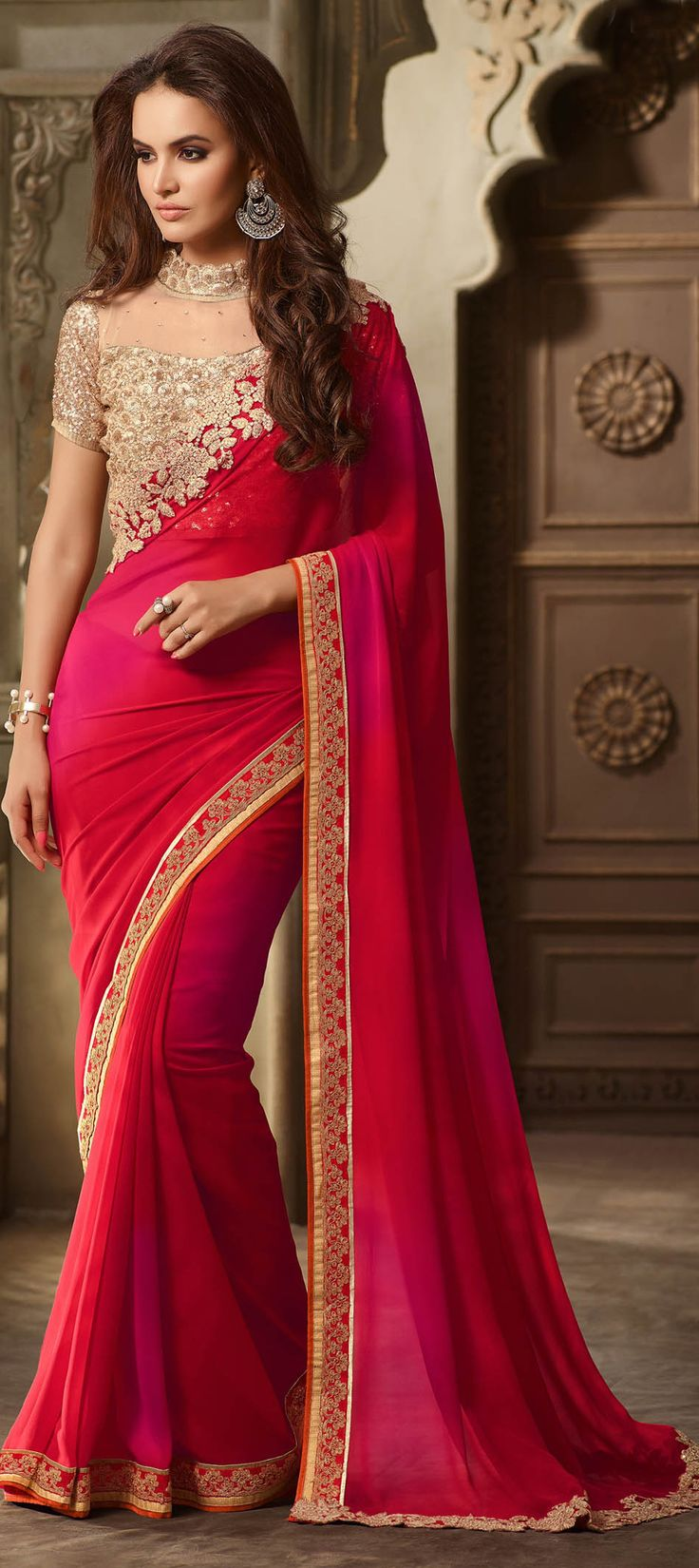 709849: Pink and Majenta color family Embroidered Sarees, Party Wear Sarees with matching unstitched blouse.