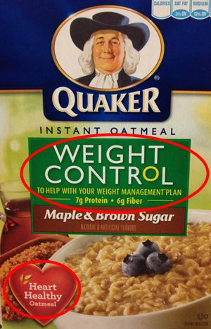 Heart Healthy Quaker Weight Control Oatmeal - not a healthy option