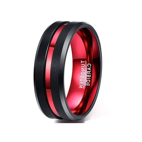 Mens Ring Brushed Center Red Groove Mens Wedding Band Mens Tungsten Ring Promise Ring Tungsten Ring Tungsten Carbide Ring Engagement