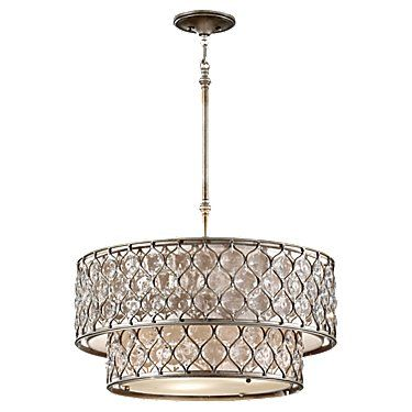 Showroom Coordinator Martha Ray loves Lucia collection from Feiss. The beauty of this 6 light Chandelier in Burnished Silver, Cream glass with crystals could only be intensified when the light is on.