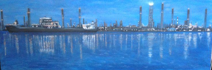 Olieraffinaderij Singapore Painting, schilderij, real ,straw, echte   Rietjes als schoorsteen.