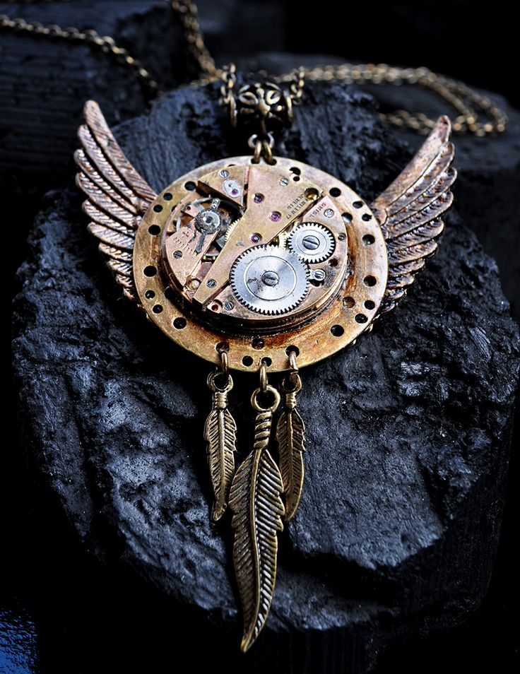 Colar Bater das Asas - steampunk - necklace - upcycle - jewelry