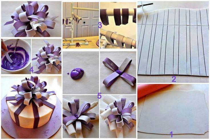 tuto noeud paquet cadeau bi couleur pate a sucre pinterest. Black Bedroom Furniture Sets. Home Design Ideas