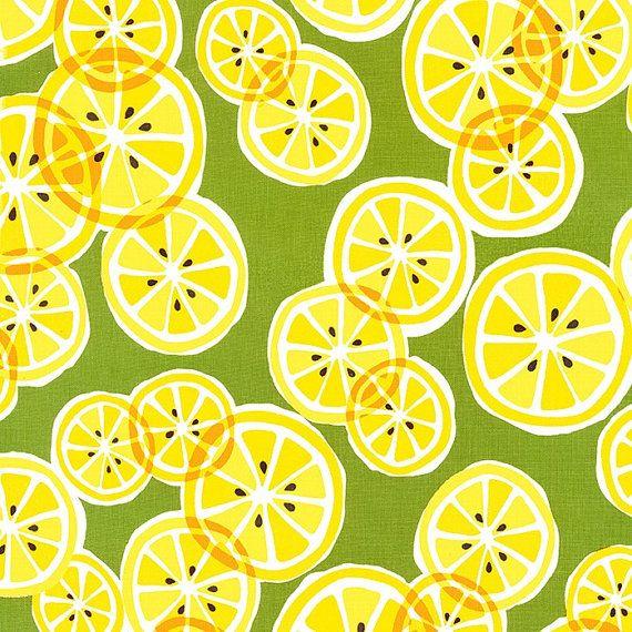 Citrus Slice - 1 Yard - Sale - Cotton - Yellow - Lemon Slice Fabric - Michael Miller Fabrics - Green Fabric - Yellow and Green Fabric