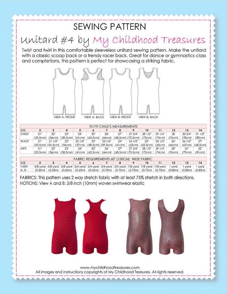 15 best PDF Girls Dancewear ballet Gymnastics Sewing Patterns images ...