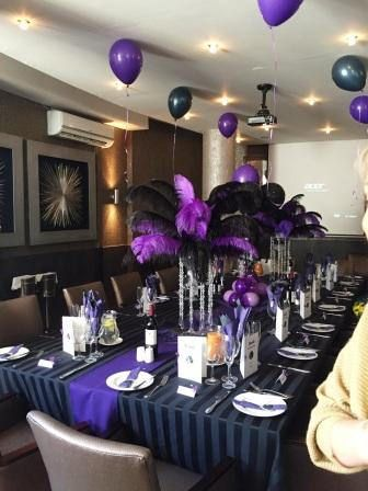 https://flic.kr/s/aHskFcPVJb | Kream Restaurant | Black and purple feathers used to enhance a 21st birthday party