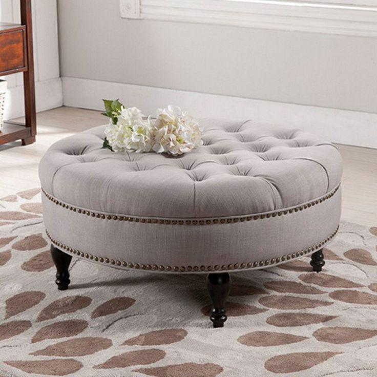 Baxton Studio Palfrey Round Ottoman - Ottomans at Hayneedle - Best 20+ Round Ottoman Ideas On Pinterest Teal Sofa, Large Round