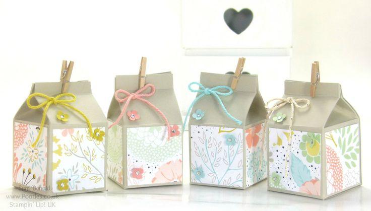 Mini Hand Cut Milk Cartons Tutorial - No diecut needed - POOTLES Stampin' Up! UK