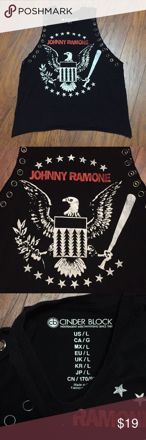 """Cinder Block Johnny Ramone Sleeveless shirt L Cinder Block Ramones Johnny Ramone muscle shirt tank top women's shirt with metal grommet detail.  Approx measurements are armpit to armpit 19"""" armhole is about 13"""" long.  At its narrowest point the shirt is 11"""" across length 24.5 Cinder Block Tops Muscle Tees"""