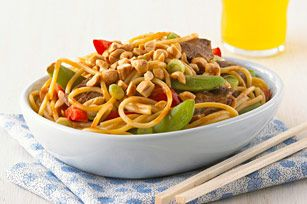 Asian Peanut Beef & Noodles for Two recipe-Serving up a tasty meal for 2? Say so long to takeout. Toss snap peas and peppers with juicy steak, noodles and a peanut sauce for a surprisingly better-for-you dish. #ValentinesDay