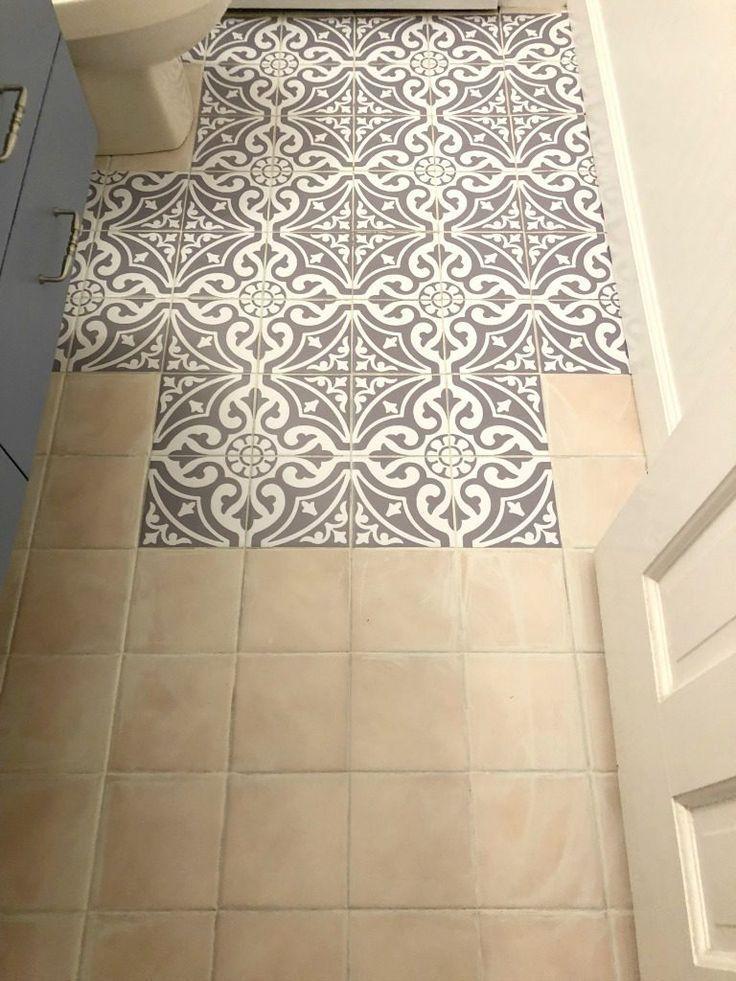 Updating The Bathroom Floor With Tile Stickers Bathroom Floor Stickers Til Bathroom Flooring Painting Tile Floors Flooring