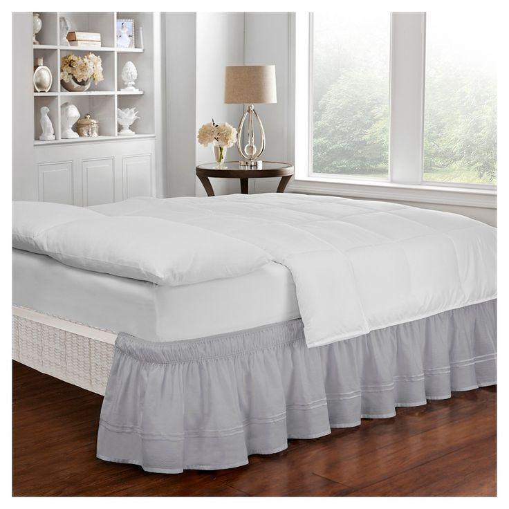 Gray Wrap Around Baratta Stitch Ruffled Bed Skirt (Twin/Full) - EasyFit