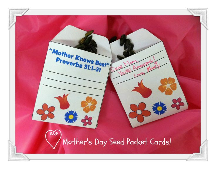 Mother S Day Crafts Mother S Day Seed Packet Cards Pink