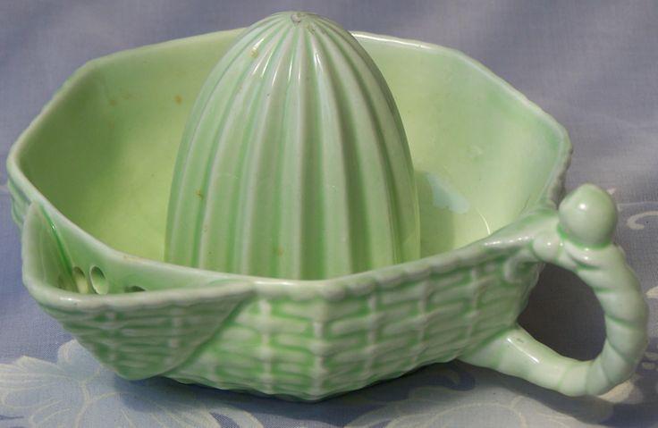 Carlton Ware pale green basket weave juicer.