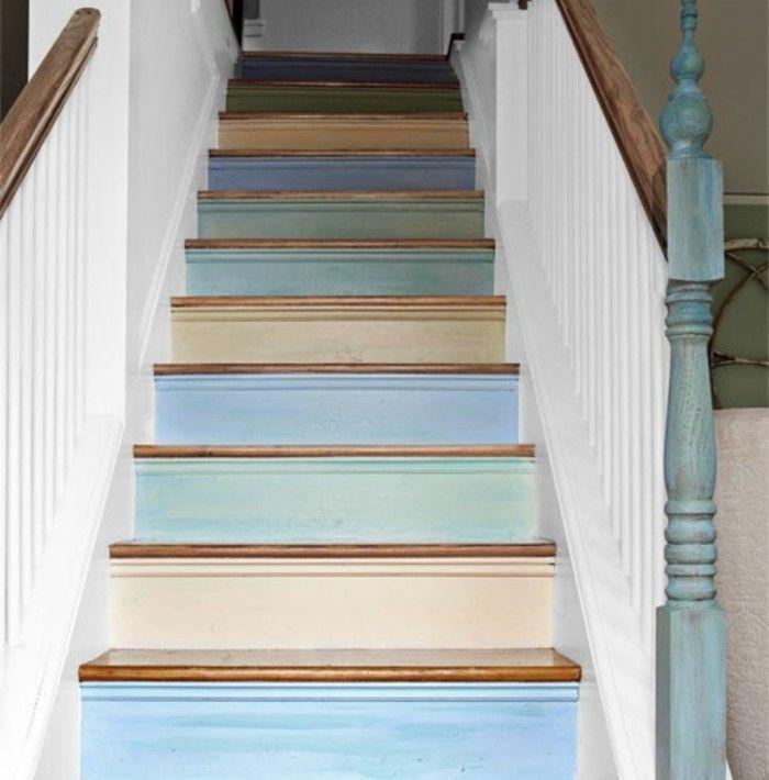 comment repeindre un escalier, idee formidable pour renover un escalier en bois, contremarches en teintes différentes