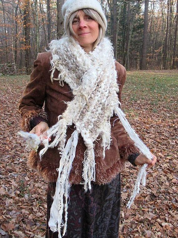 hand knit luxury art yarn oversize wool alpaca scarf enchanted