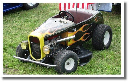 Rat rod riding lawn mower,  Damn this is one of the coolest things I've ever seen...