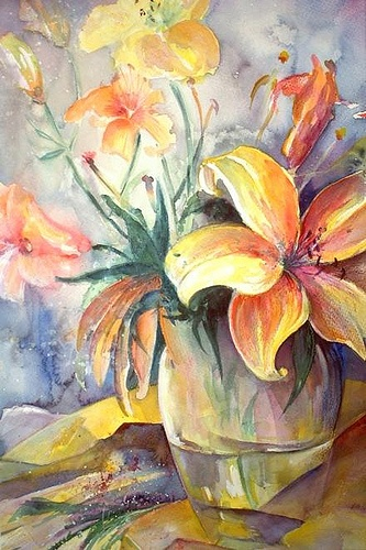 Watercolour Flowers painting by Miki Queen