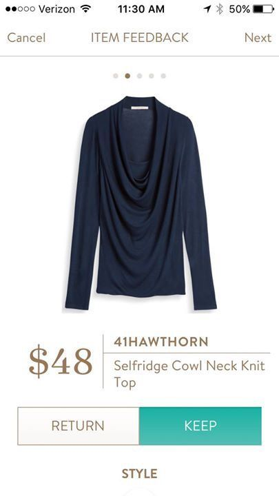 Stitch Fix Fashion! 2017 trends! 41Hawthorn Selfridge Cowl Neck Knit Top - ask your stylist to send you something like this. Navy comfortable top. #Stitchfix #Sponsored