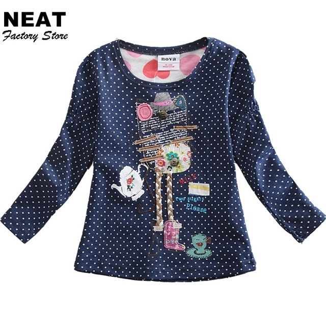 Venta al por menor camisetas de manga larga para niñas roupa infantil princesa de dibujos animados los niños ropa de niños de los niños camisetas nova l3916 mix