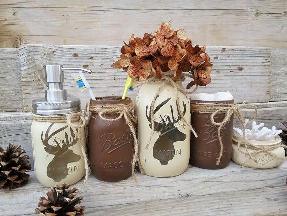 Deer Head Mason Jar Bathroom Set  Lodge Decor Boys Rustic Cabin Brown Tan Best 25 bathroom decor ideas on Pinterest
