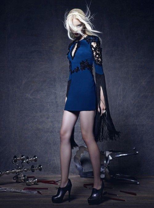 those sleeves: Koray Bright, Magazine, Style, Blue, Dress, High Fashion, Fashion Editorials, Anna Gerasimova, Aspen