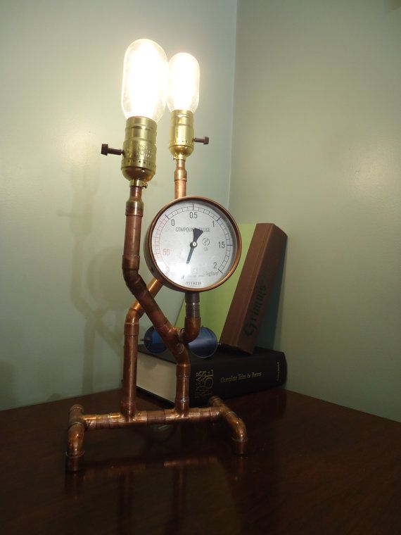 Compound Gauge Steampunk Desk Lamp by NFSBS on Etsy
