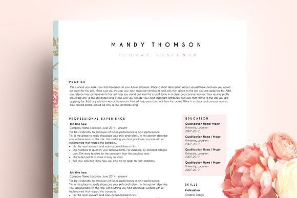 resume template ms word floral by PinkJellyfish on @creativemarket