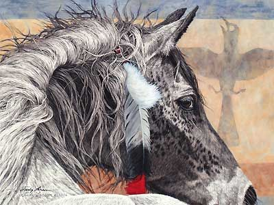 The Crow Tipi - Judy Larson - World-Wide-Art.com - $395.00 #JudyLarson #Horses