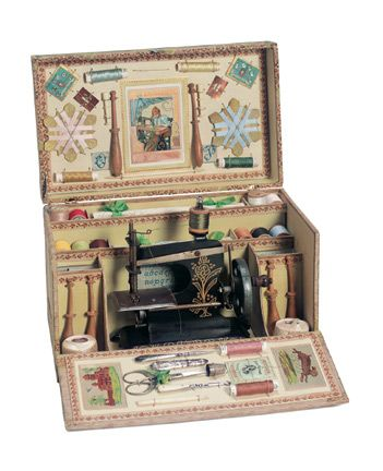 """French Child's Sewing Arrangement 12"""" x 7"""" (30 x 18 cm). A wooden box with…"""