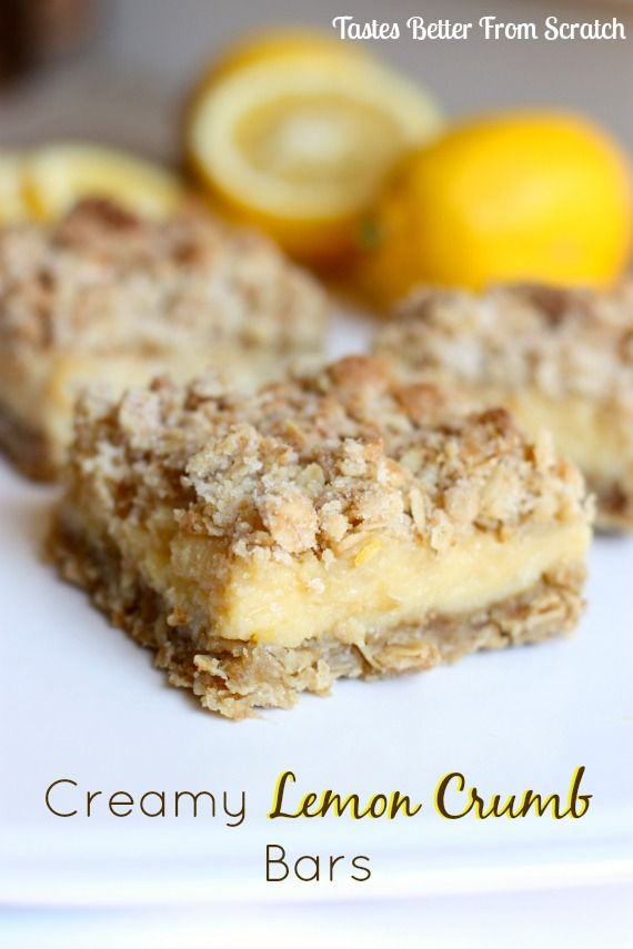 Creamy Lemon Crumb Bars | Tastes Better From Scratch -- Creamy lemon center with a delicious crumb topping!
