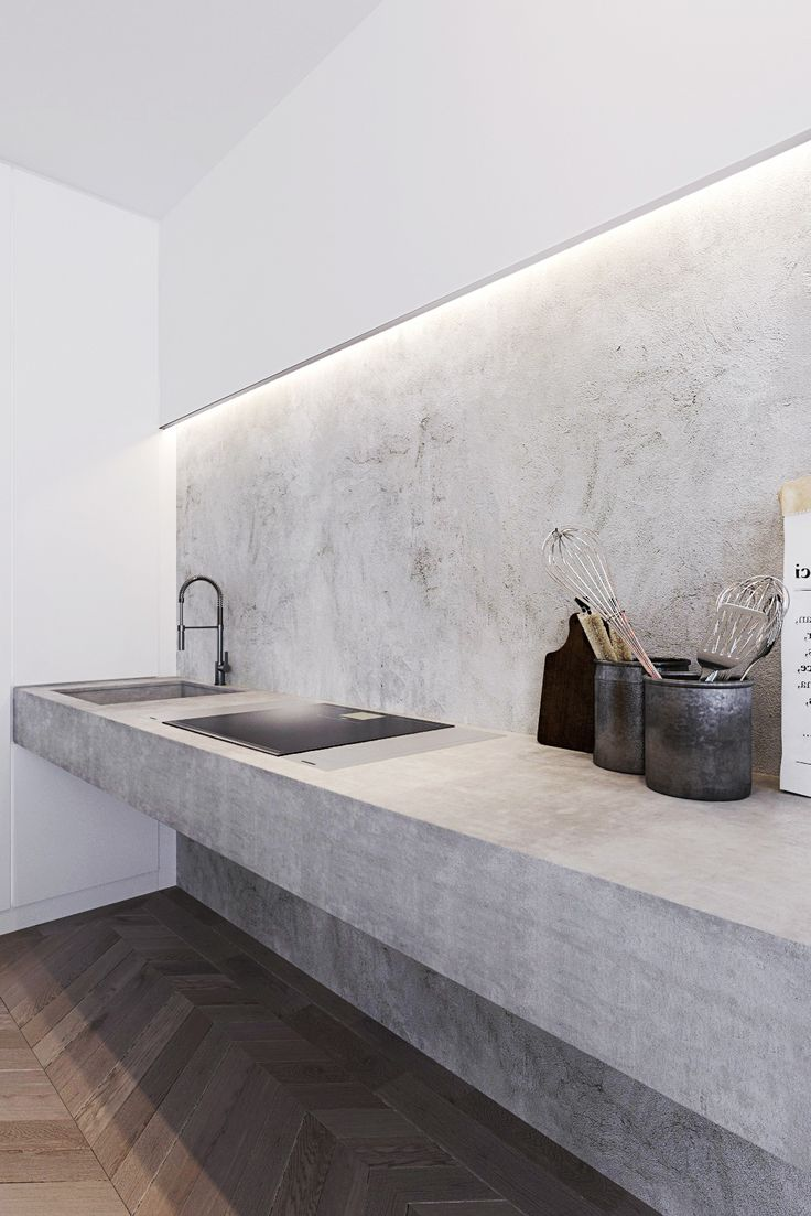 Concrete kitchen - Loft Apartments in Moscow