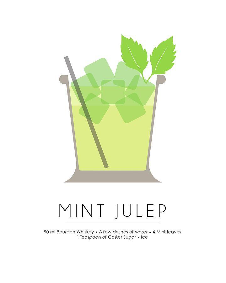 Mint Julep Classic Cocktail - Minimalist Print Mixed Media by Studio Grafiikka