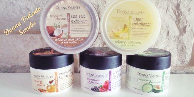 Απολεπιστικά προσώπου και σώματος από τη Donna Valente: banana miracle, tropical dream, cucumber & avocado, honey & almond και pomegranate & blueberry.