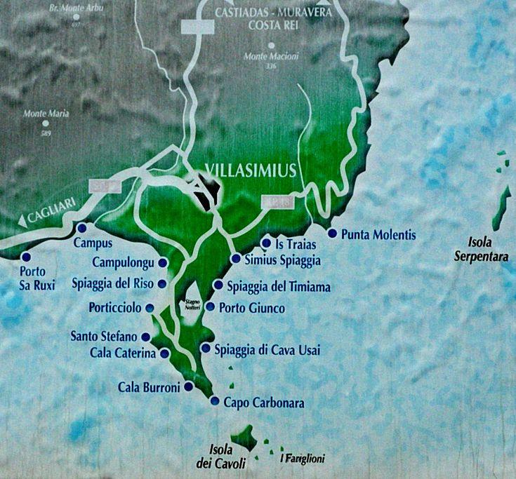 Map of beaches close Villasimius and Capo Carbonara - Sardinia Italy