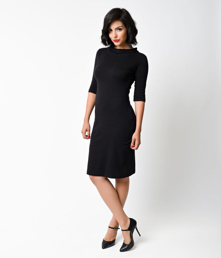 Sneaky, stealthy and downright sultry, this 1960s mod black Super Spy dress is the perfect addition to any stylish retro lover's wardrobe. Whether you're heading out under the cover of night to solve a few mysteries or simply to go dancing with friends, this vintage-inspired fitted frock makes the perfect go-to outfit. It features a slim-fitting pencil shape, knee-length hemline and ¾ length sleeves for a truly flattering look, and its slight turtleneck will keep you warm during even the…