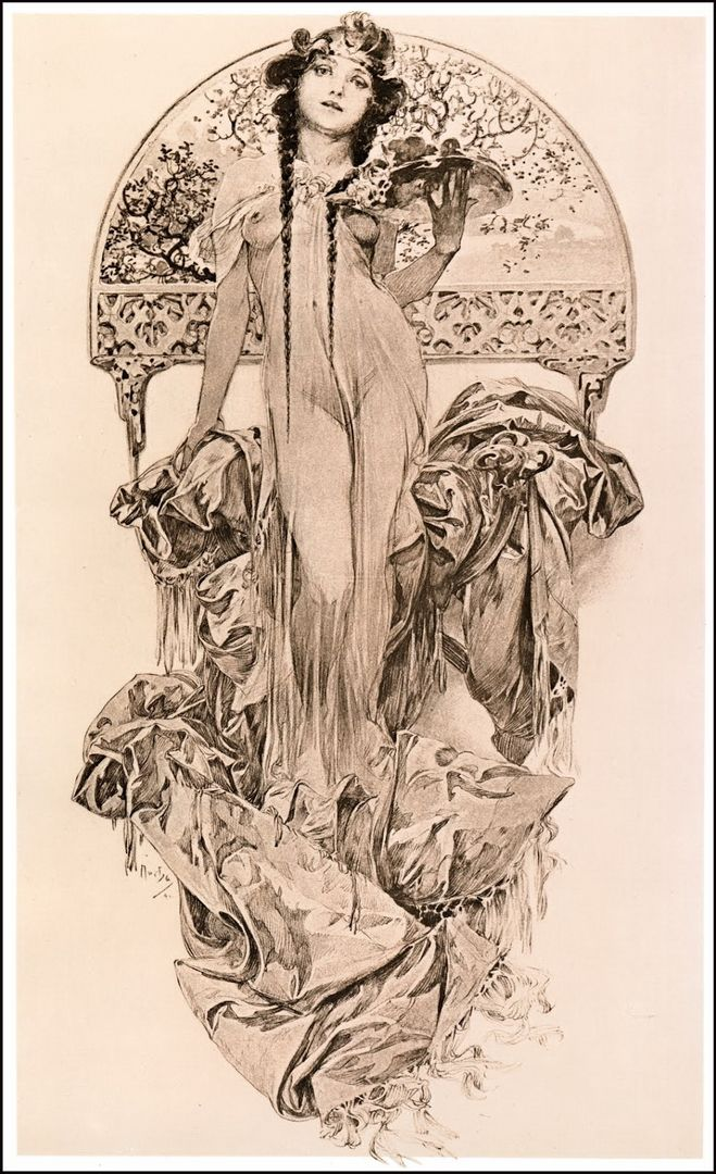 Would love this Mucha in color  This is absolutely the pose that I want...Perhaps cut off at the waist with flowers all around