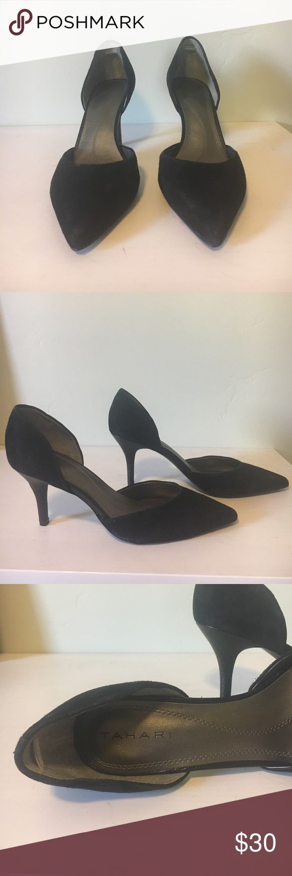 Tahari black heels. Size 7.5, 2.5 inch heels Black suede Tahari heels, size 7.5, with 2.5 inch heel. Never worn. Tahari Shoes Heels