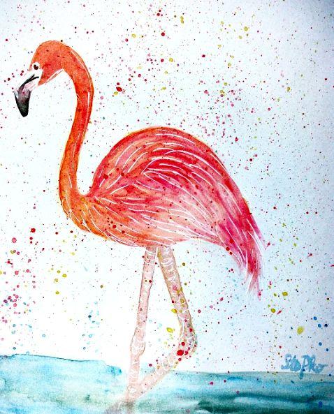 IG: @maggie_creates_  watercolor flamingo painting