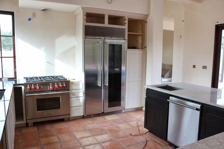 glass door fridge, wolf range, thermador dishwasher, marvel refrigerator