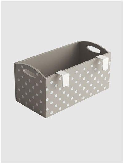 Cajón almacenaje especial mesa cambiador MARRON GRISACEO/LUNARES BLANCO