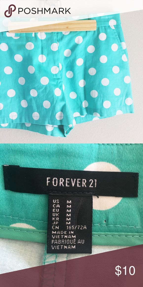 NWOT F21 Polka dot turquoise shorts Super chic and cute! Perfect for spring break! Never worn! Color is slightly darker than original photo. Forever 21 Shorts