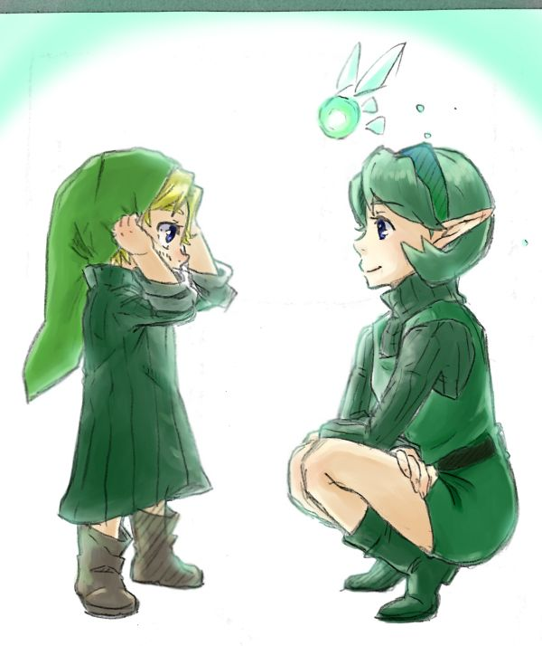 Little me and Saria. First time putting on a kokiri clothes