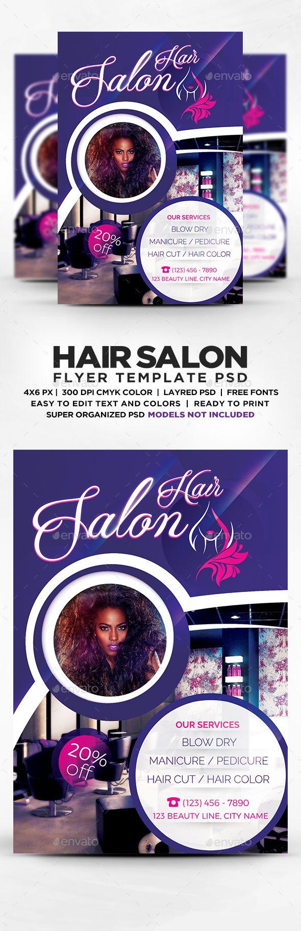 Beauty Hair Salon Flyer Template PSD   Flyers Print Templates